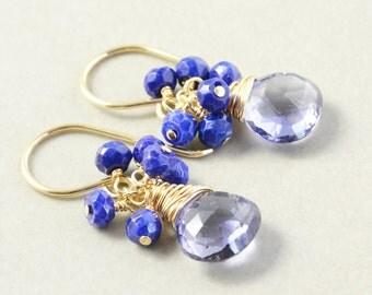 Iolite Lapis Cluster Earrings, Navy Blue Earrings, Gemstone Dangle Earrings