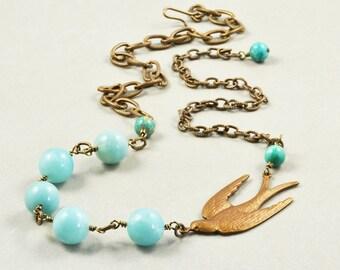 Amazonite Brass Necklace, Turquoise Necklace, Whimsical Necklace, Aqua Stone Necklace
