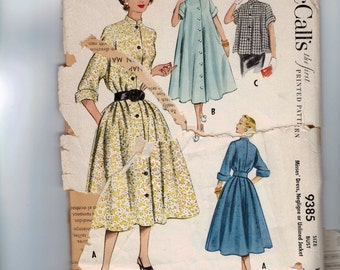 1950s Vintage Sewing Pattern McCalls 9385 Misses Dress Negligee Unlined Jacket Housedress Size 14 Bust 32 1954 50s  99