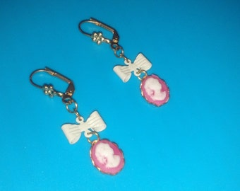 Pink Victorian Lady with Bow Earrings