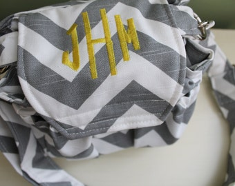 Monogrammed Personalized Embroidered Custom Chevron Camera Bag by Watermelon Wishes