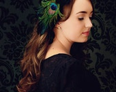 Peacock Feather Fascinator, Headband, Hair Accessory, Black Velvet, Flower, Retro Feather Headband, Batcakes Couture