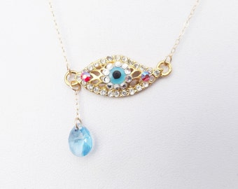 Eye Necklace, Gold, Swarovski Crystal, Protection,Surreal, Dali Inspired, Blue Crystal Tear Drop, Batcakes Couture