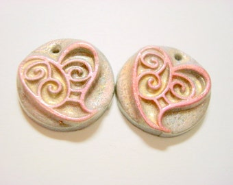 Pink and Silver Swirl Hearts Polymer Clay Focal Beads