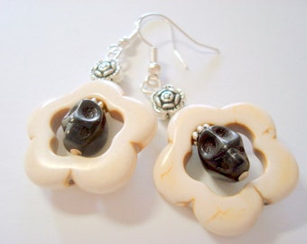 Black and White Day of the Dead Sugar Skull Earrings