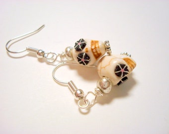 Tiny 10mm Black and Ivory Day of the Dead Sugar Skull Earrings