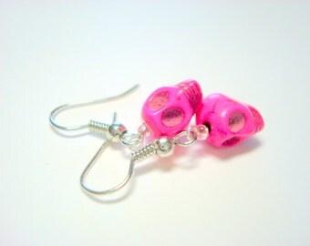 Sugar Skull Earrings Tiny Pink Day of the Dead Earrings