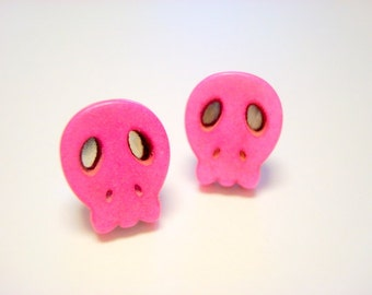 Pink Day of the Dead Sugar Skull Post Earrings