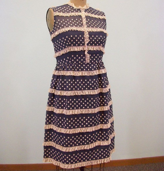 Vintage 60s Dress / Navy Blue & White / Rows Of Lace / Lacy Flower Embroidery
