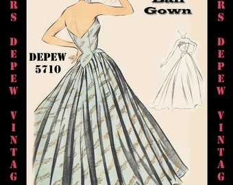 Vintage Sewing Pattern 1950's Evening Ball Gown in Any Size - PLUS Size Included - Depew 5710 -INSTANT DOWNLOAD-