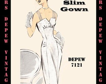Vintage Sewing Pattern 1950's Cocktail or Wedding Dress in Any Size - PLUS Size Included - Depew 7121 -INSTANT DOWNLOAD-