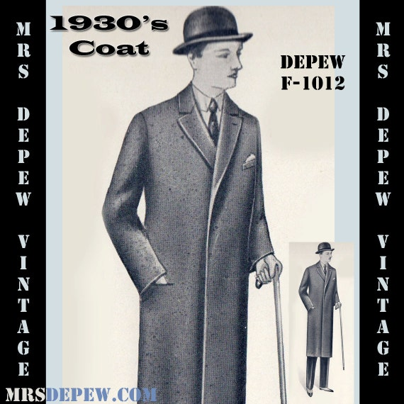 Men's Vintage Reproduction Sewing Patterns 1930s Mens Coat in Any Size- Plus Size Included- Depew F-1012 -INSTANT DOWNLOAD- $8.50 AT vintagedancer.com