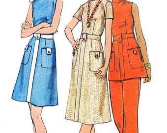 1970s Dress Pattern Tunic Pants Butterick 6172 A Line Dress A Line Tunic Pants Womens Vintage Sewing Pattern Bust 38