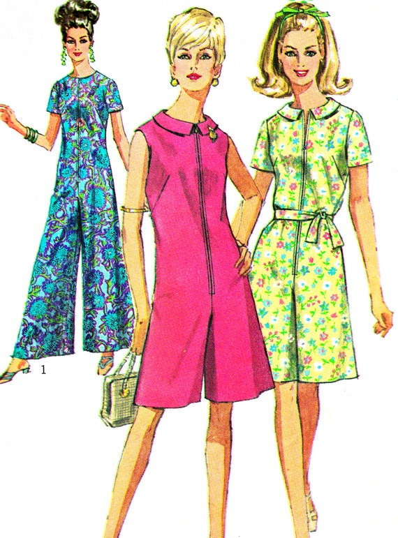 Luxury Vintage 70s Womens JUMPSUIT Pattern Simplicity 8787 Sleeveless