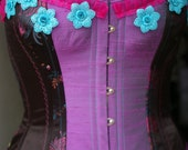 Overbust BUY NOW size 28 inch waist Retro Corset Psychobilly Plus Size Purple & Fuschia From ExRezCorsets