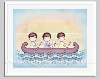 Baby boy nursery art, nursery decor, kids art, child print, boy decor brown hair three brothers triple best friends row boat, Stronger 8x10