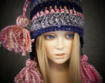 OOAK Chullo Style, Crochet, Pink, Blue and Purple Ruffles and Tassels Earflap Hat for Toddler/ Ready to Ship