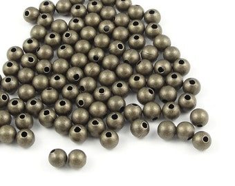 50 Brass Beads - 4mm Round Beads - Antique Brass Ball Beads - Aged Solid Brass - Antique Bronze Color Metal Beads (FSAB9)