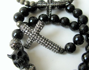 Bracelet, Rhinestone Cross and Black Onyx Beaded
