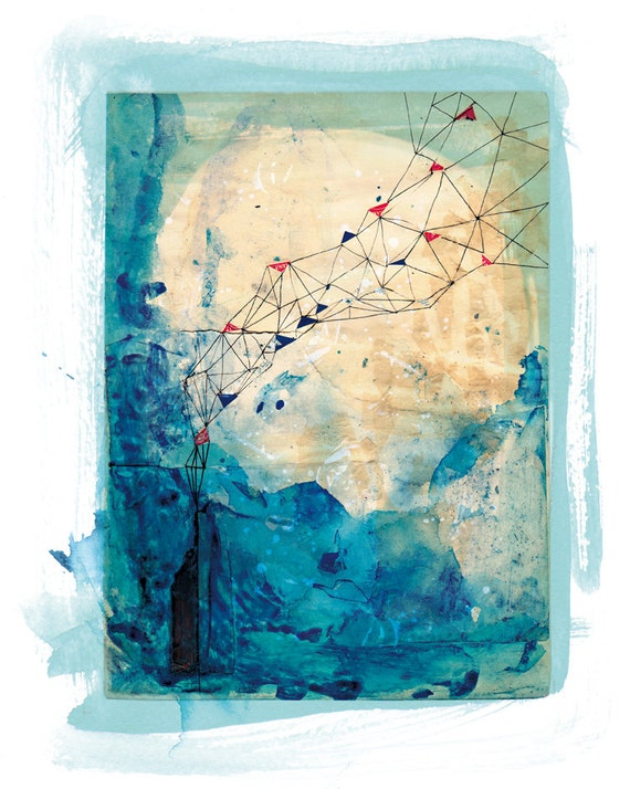 Blue Collage Archival Wall Art Print by Paula Mills