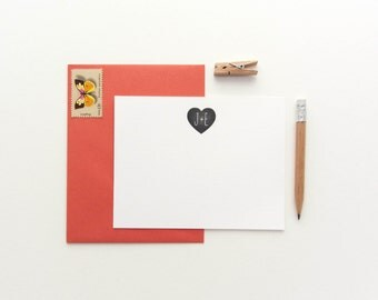 Monogram Heart - Custom set of 35 note cards