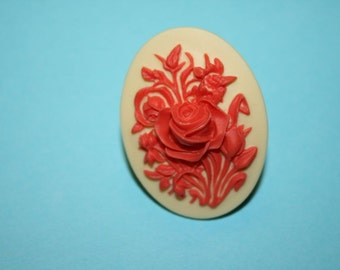 SALE Large Red and Cream Wildflowers Cameo Ring