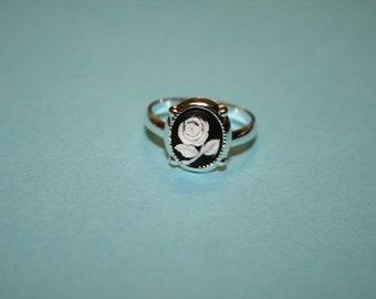 Tiny Black Rose Cameo Ring