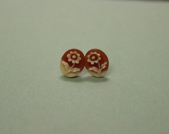 Tiny Red Flower Cameo Earrings