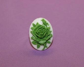 Medium Green Rose Cameo Ring