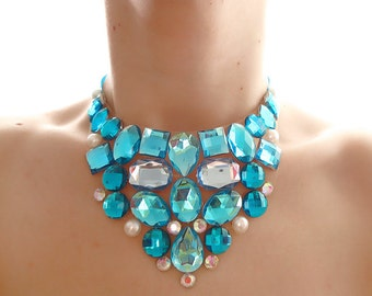 Turquoise and Pearl Rhinestone Bib Necklace, Jeweled Aqua Blue Rhinestone Bib Statement Necklace, Aqua Crystal Bib Necklace