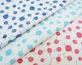 Hand printed Fabric Knitting design Organic cotton and hemp fabric