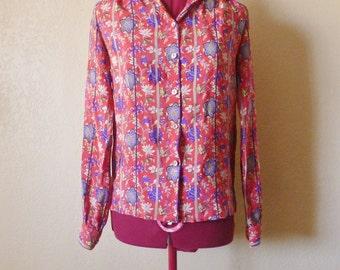 vintage ALAN AUSTIN red floral blouse