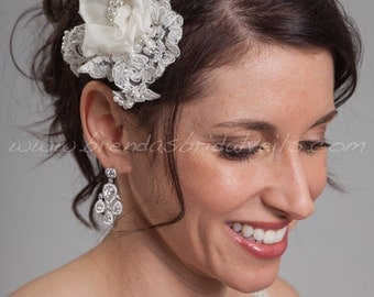 Lace and Silk Flower Bridal Head Piece, Wedding Lace Hair Piece, Lace Birdcage Fascinator - Presley