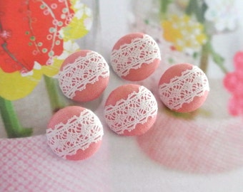 """Handmade Small Light Pink White Flower Floral Lace Fabric Covered Buttons, Small Lace Wedding Buttons, Flat Back, 0.75"""" 5's"""