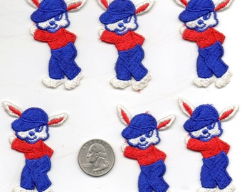 Lot of 6 - Vintage Silly Dancing RABBITS Bunnies Embroidered appliques Patches - Blue Red