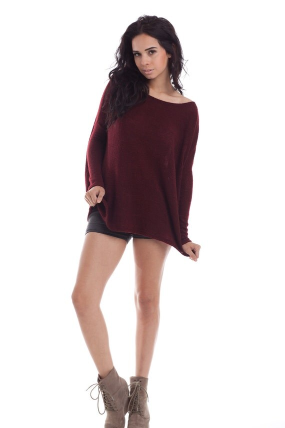 Limited Oversize Raglan Sweater - Womens Clothing  Wine