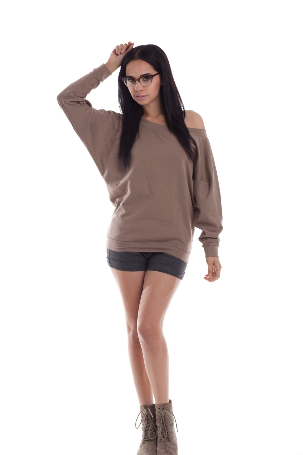 Dolman Off The Shoulder Sweater Sweatshirt Oversize Womens
