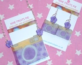 Say Cheese - Spring garden style, purple, yellow and blue hand drawn shrink plastic camera set (earrings and necklace)