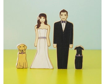 Custom Wedding Cake Topper Couple with Two Pets