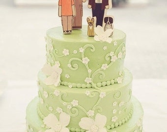 Custom Family Wedding Cake Topper- Two Adults, One Child, and Two Sweet Pets