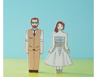 Custom Wedding or Anniversary Cake Topper Couple