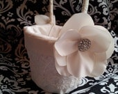 Pamela Flower Girl Basket, Wedding Basket, Alencon Lace and Flower with Rhinestone Button