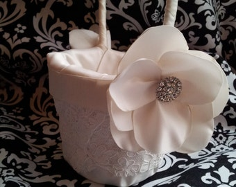 Pamela Flower Girl Basket, Wedding Basket, Alencon Lace and Flower with Rhinestone Button