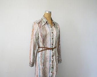 vintage 60s Jonathan Logan Pastel Abstract Print Ladies Shirt Dress