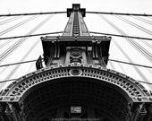 Manhattan Bridge Ironwork, Black and White Fine Art Print, Historic Landmarks, New York Bridges