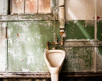 Urinal, Decaying Bathroom, Old Toilet, Abandoned Building, HDR, Urban Exploration, Color Photograph of old urinal in abandoned building.