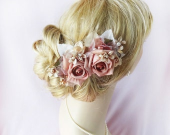 bridal hair piece, vintage hair comb, pink hair flower, wedding hair clip, wedding headpiece, floral hair clips, bridal hair accessories