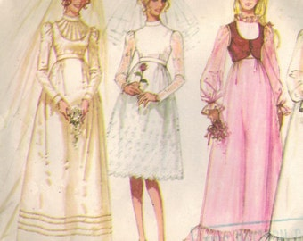 1970s Simplicity 9608 Vintage Sewing Pattern Misses Wedding Gown, Bridal Dress, Bridesmaid Dress Size 12 Bust 34