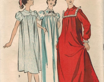 1950s Advance 8488 Vintage Sewing Pattern Misses Nightgown Size 12 Bust 32, Size 42 Bust 42