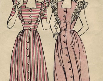 1940s Butterick 3645 Vintage Sewing Pattern Misses Pinafore House Frock Size 12 Bust 30
